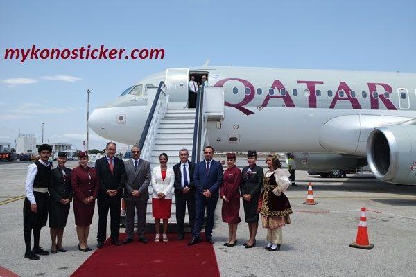 , Στην υποδοχή της πρώτης, απευθείας πτήσης της Qatar Airways από την Ντόχα του Κατάρ στο αεροδρόμιο της Μυκόνου, παρέστη ο Περιφερειάρχης (pics & vids)
