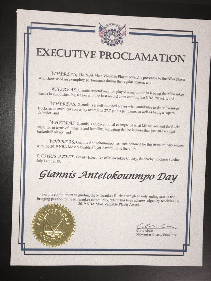 , The Milwaukee County established the 14th July as «Giannis Antetokounmpo Day»