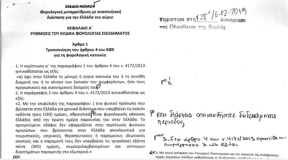 , Le texte du projet de loi fiscal passé [document]